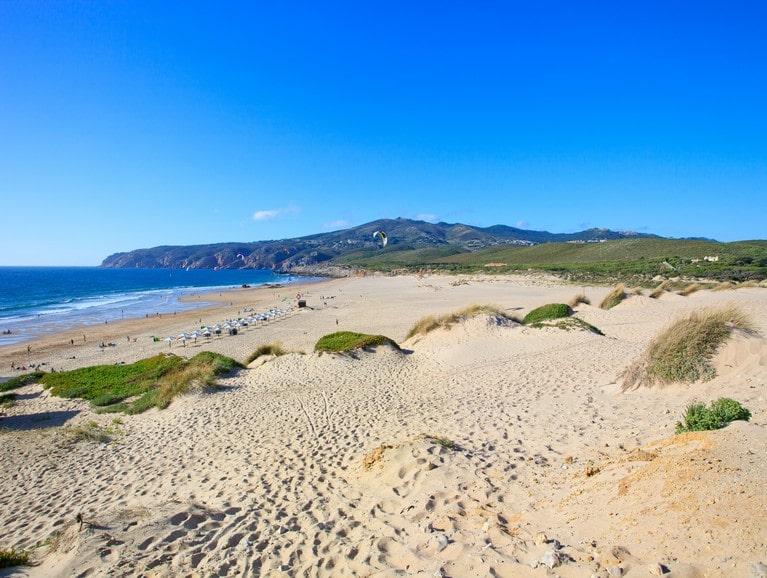 Guincho kite surf beach landscape. Cascais, Portugal